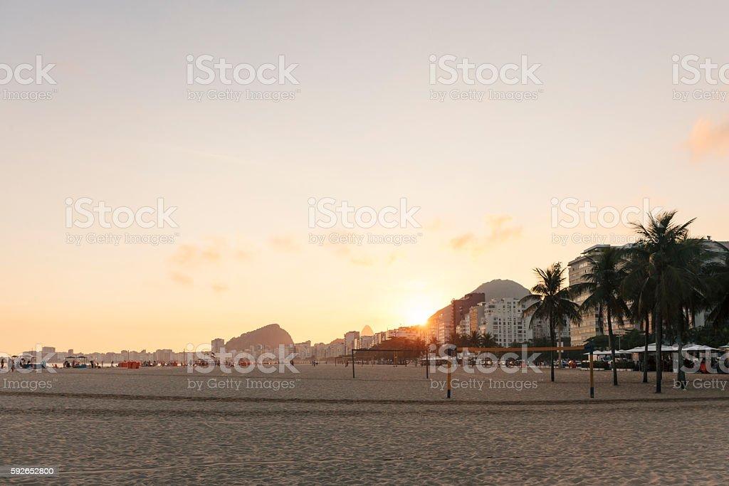 Copacabana Beach at sunset, Rio de Janeiro stock photo