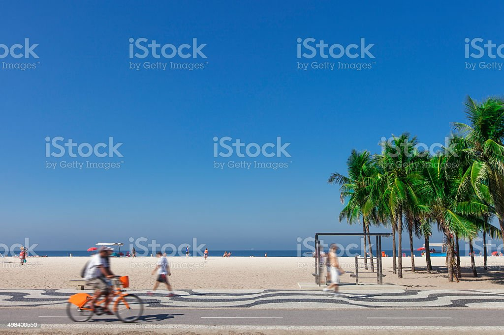 Copacabana Beach bikeway stock photo