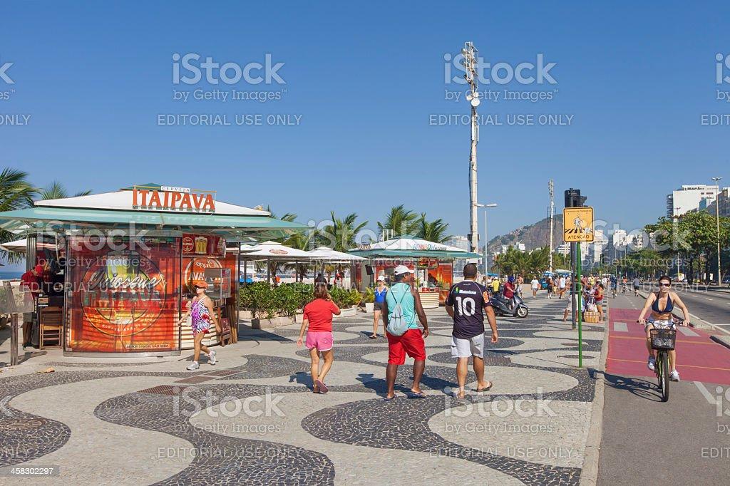 Copacabana Beach famous sidewalk royalty-free stock photo