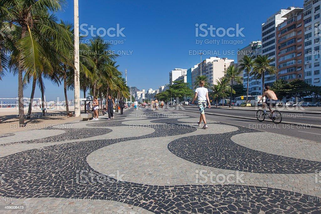 Copacabana Beach sidewalk in Rio de Janeiro royalty-free stock photo