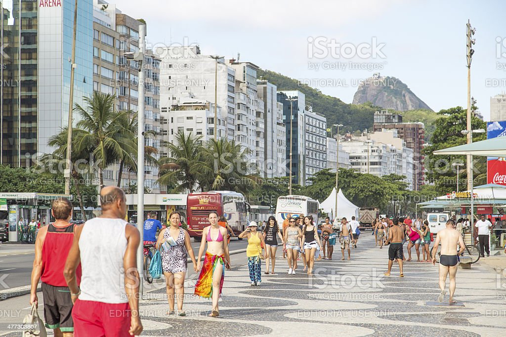 Copacabana Beach sidewalk royalty-free stock photo