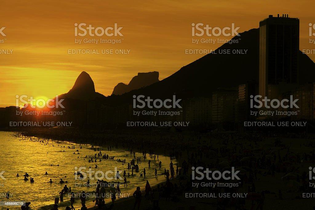 Copacabana beach sunset royalty-free stock photo