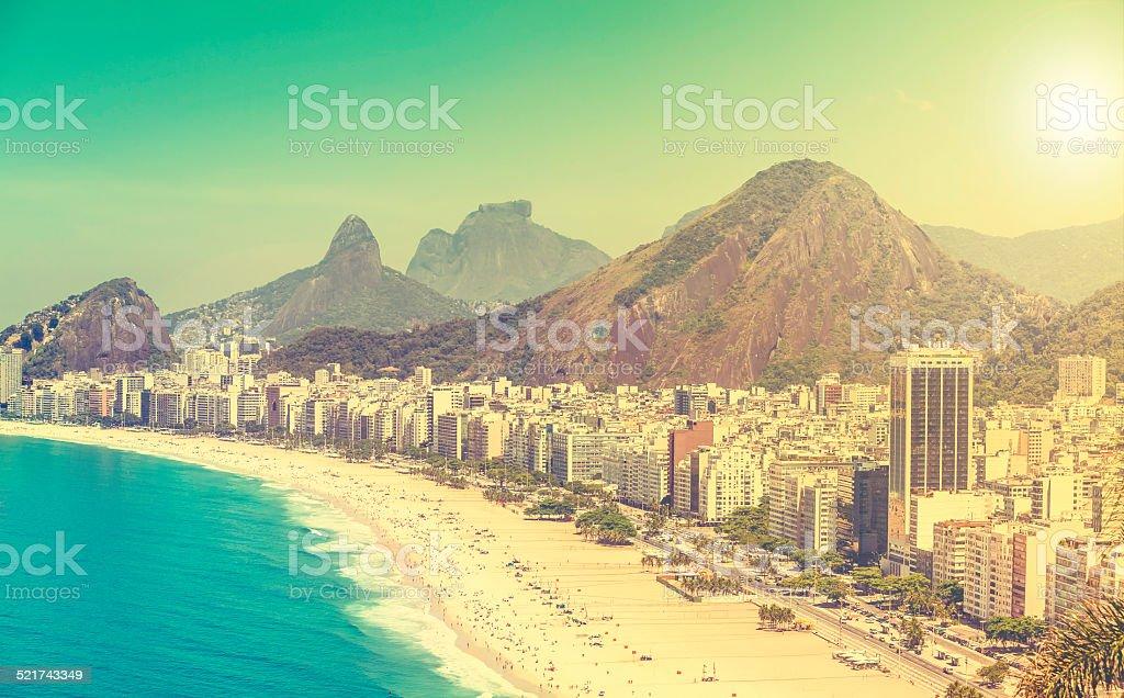 Copacabana Beach vintage view in Rio de Janeiro, Brazil stock photo