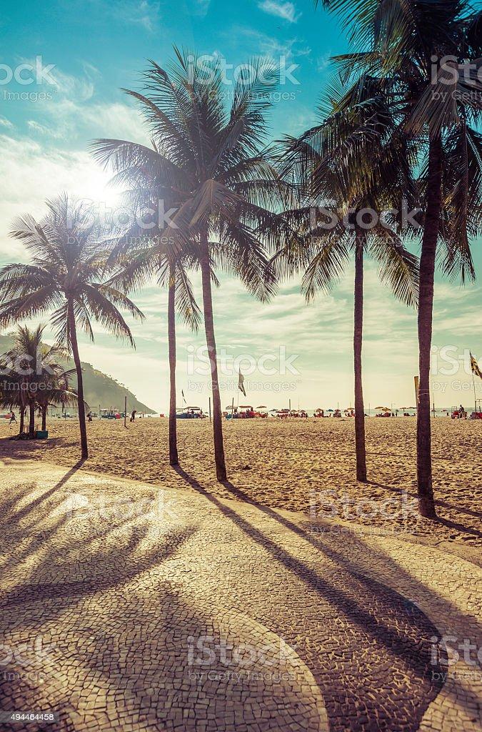Copacabana Beach with palms in Rio de Janeiro stock photo