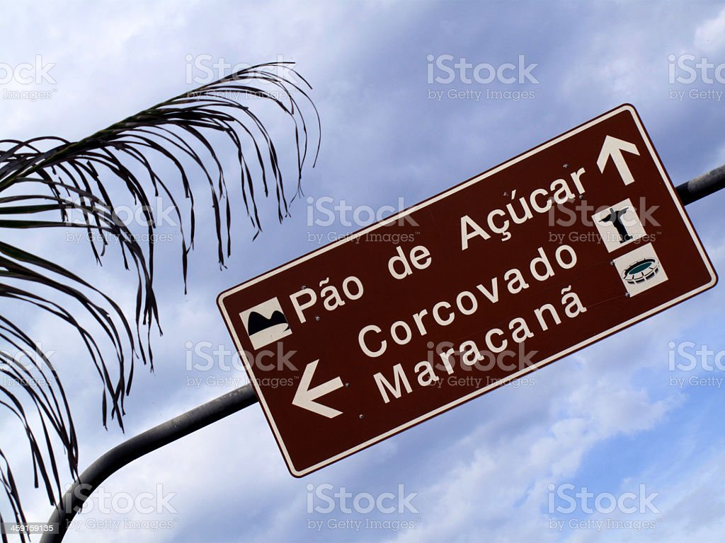 Copacabana traffic sign post, Rio de Janeiro, Brazil. royalty-free stock photo