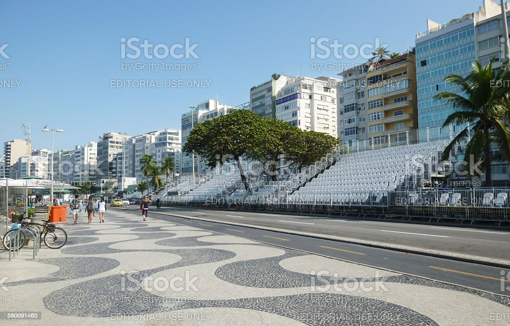 Copacabana with stands for international sporting event stock photo