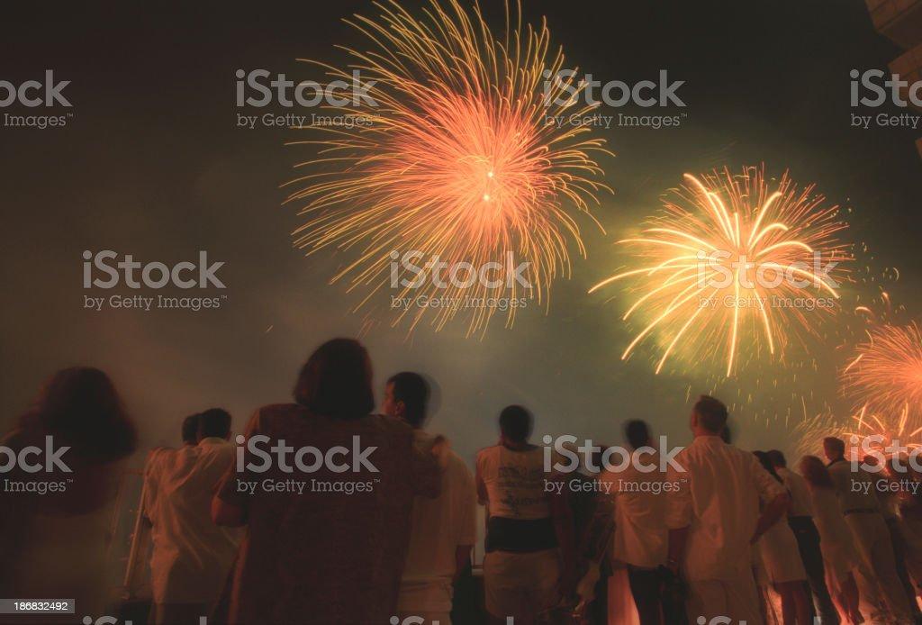 Copacabana's fireworks royalty-free stock photo