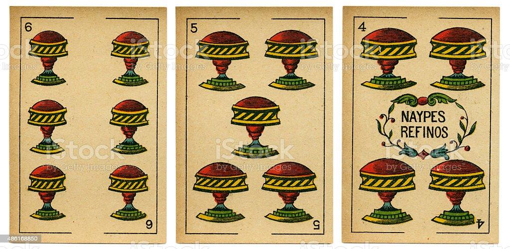 Copas four five six Spanish playing card baraja 19th century stock photo