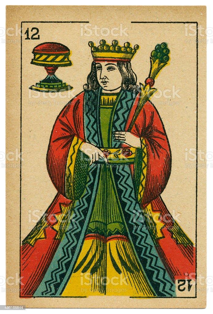 Copas king playing card baraja 19th century 1878 stock photo