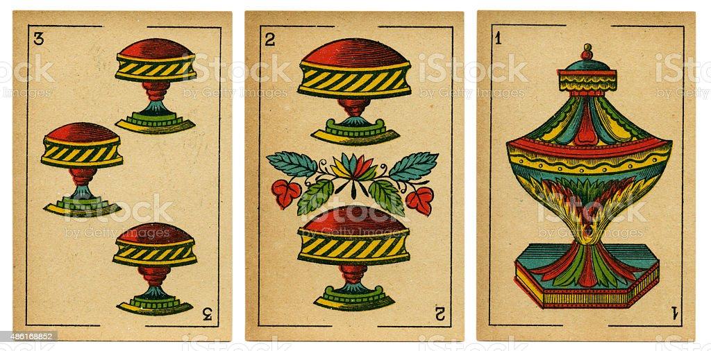 Copas one two three Spanish playing card baraja 19th century stock photo