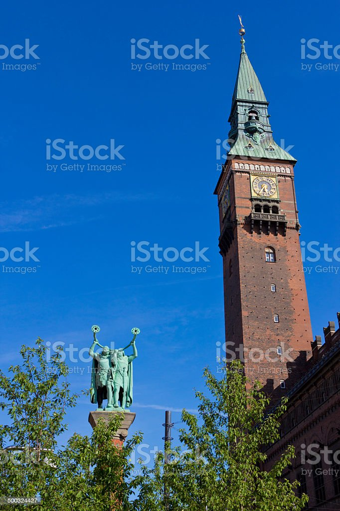 Copenhage town hall tower stock photo