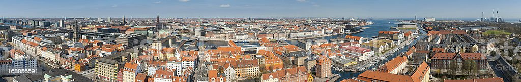 Copenhagen aerial cityscape super panorama Denmark stock photo