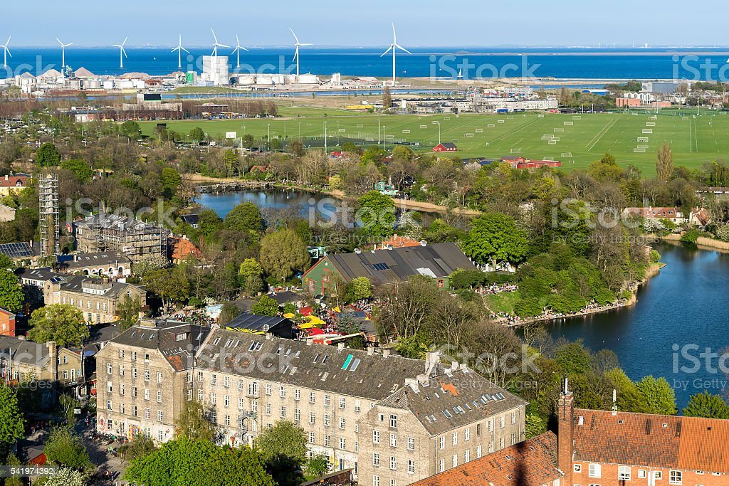 Copenhagen Areal with a view of Freetown Christiania stock photo