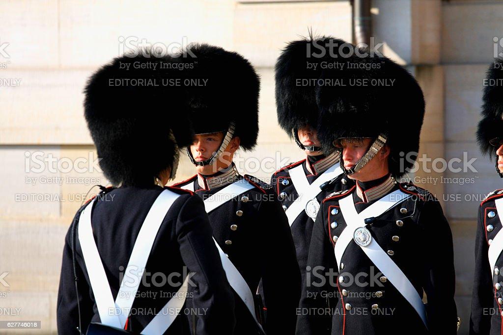 Copenhagen, aug 16. 2016 - The Royal Guard in Copenhagen stock photo