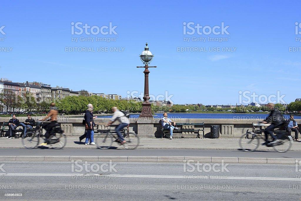 Copenhagen, bicycle lane in Norrebro royalty-free stock photo