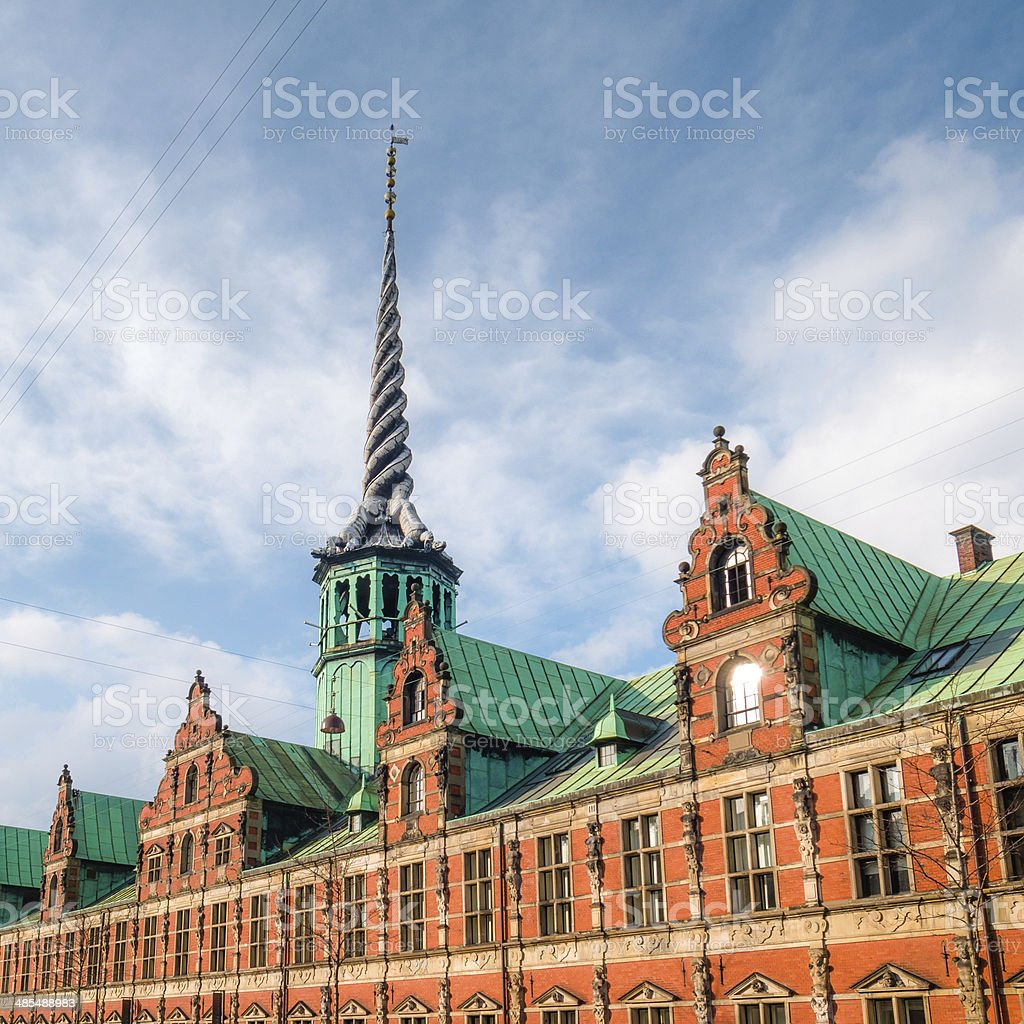 Copenhagen: Boersen and the Dragon Spire royalty-free stock photo
