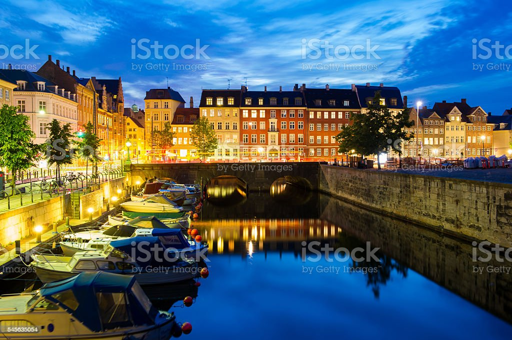 Copenhagen Canal at dusk stock photo