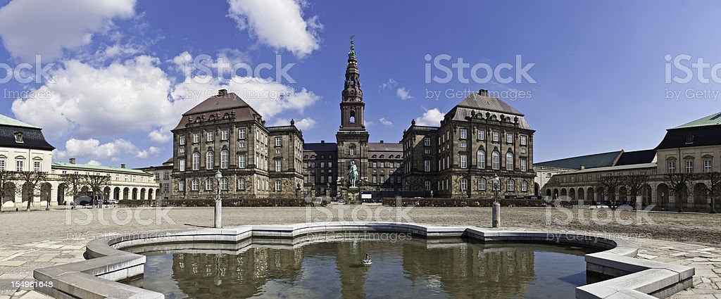 Copenhagen Christiansborg Palace Danish Parliament building panorama Denmark stock photo