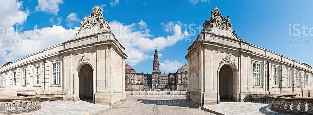 Copenhagen Christiansborg Palace parliament panorama Denmark stock photo