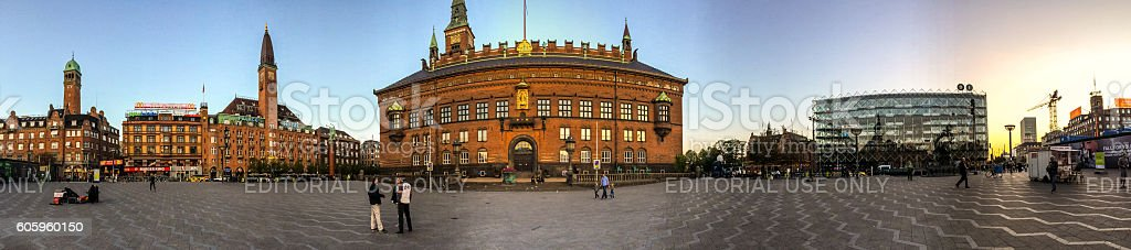 Copenhagen City center panorama, Denmark stock photo