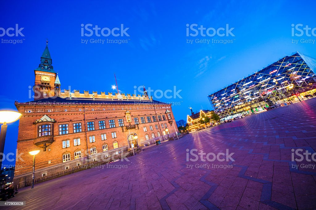 Copenhagen city hall by night stock photo