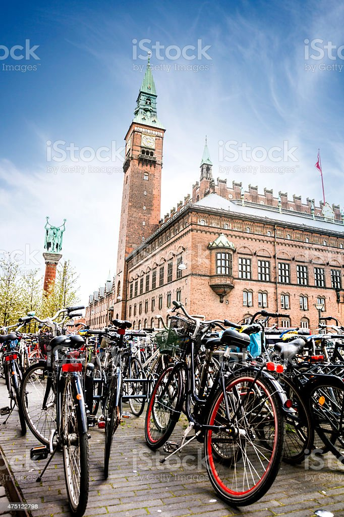 Copenhagen city hall full of bicycle parked in the square stock photo