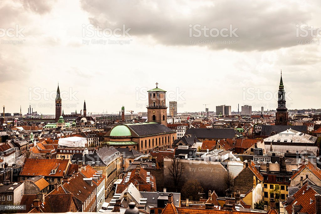 Copenhagen cityscape and roofs stock photo