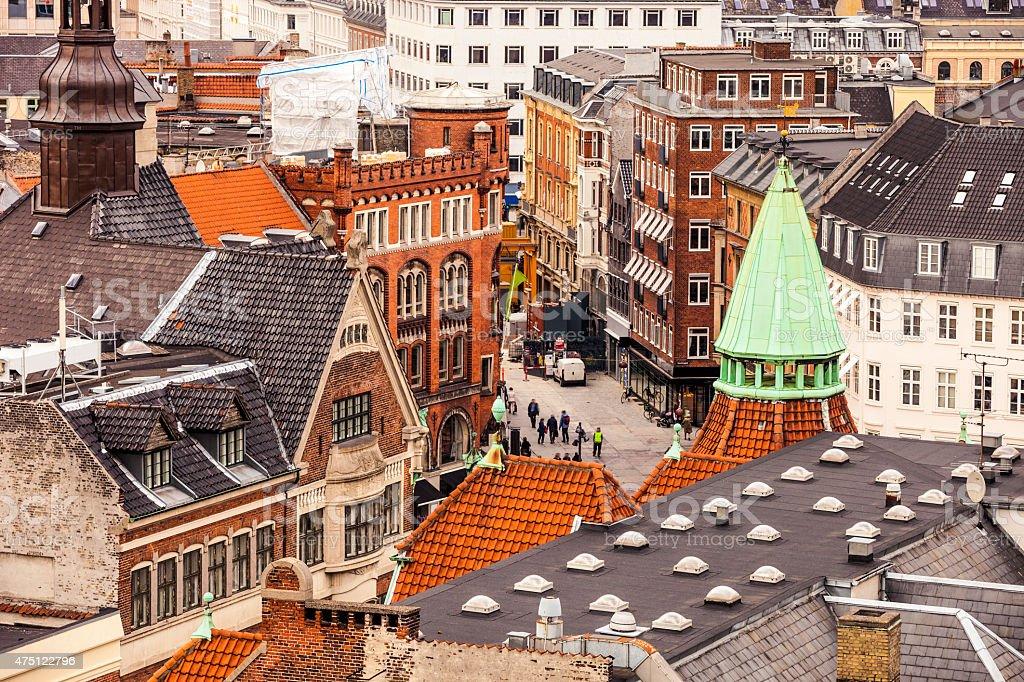 Copenhagen cityscape and roofs stock photo