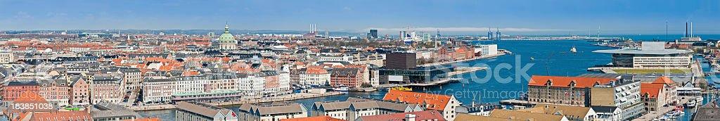 Copenhagen harbour aerial cityscape Denmark stock photo
