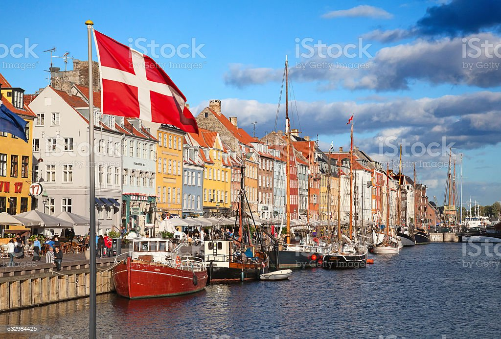 Copenhagen (Nyhavn district) in a sunny summer day stock photo