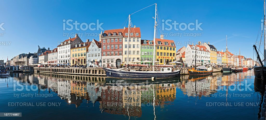 Copenhagen Nyhavn bars vibrant villas reflected royalty-free stock photo