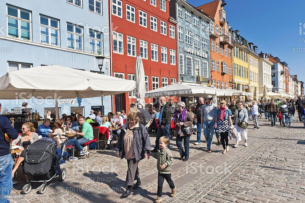 Copenhagen Nyhavn colourful waterfront restaurants Denmark stock photo