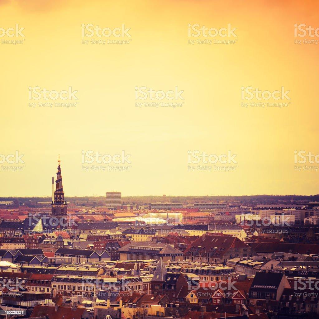 Copenhagen panoramic aerial view at dusk stock photo