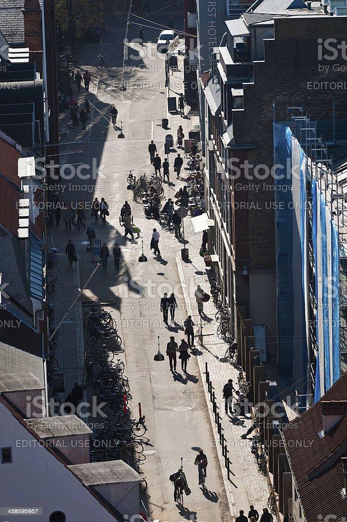 Copenhagen pedestrians walking in sunshine Strøget shopping district Denmark royalty-free stock photo