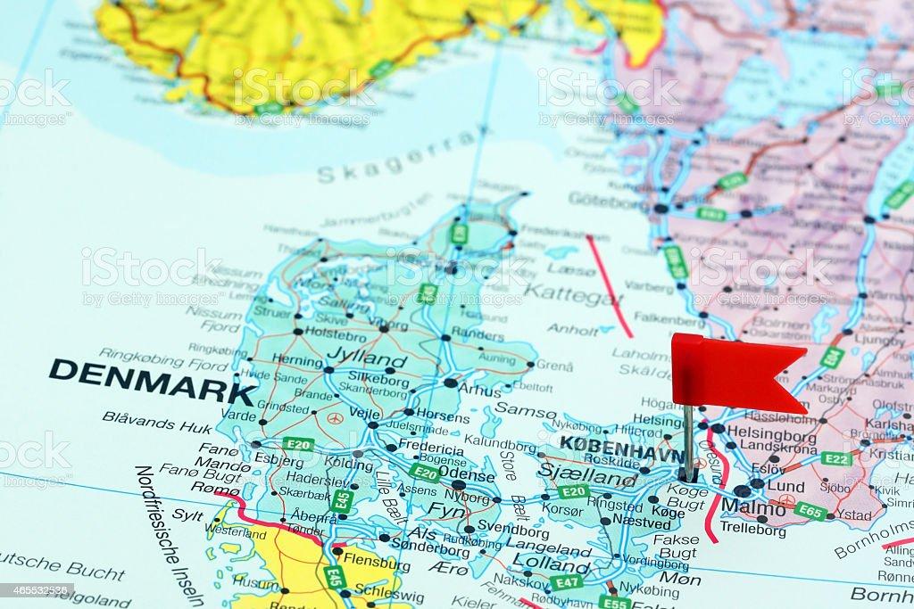 Copenhagen pinned on a map of europe stock photo