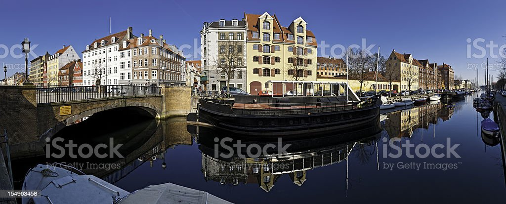 Copenhagen quiet canals Christianshavn panorama Denmark royalty-free stock photo