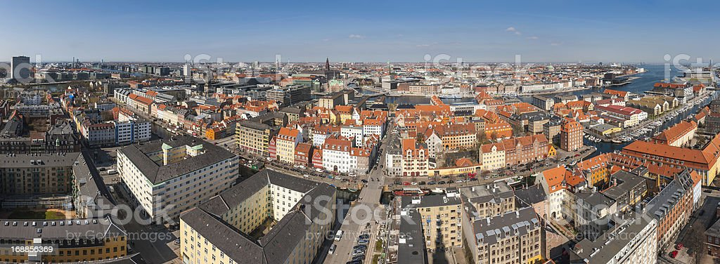 Copenhagen rooftops aerial panorama Denmark stock photo