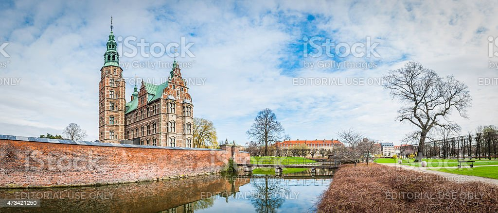 Copenhagen Rosenborg Castle Gardens panorama historic landmark Kongens Have Denmark stock photo