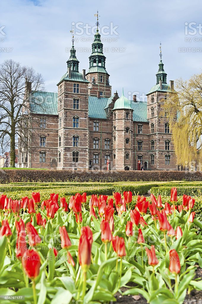 Copenhagen Rosenborg Slot castle Kongens Have spring tulips Denmark stock photo
