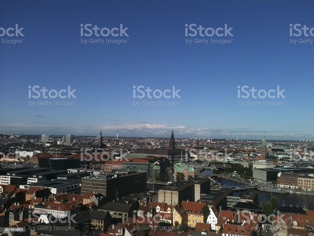 Copenhagen skyline on cloudless day taken from Christianshavn, Denmark stock photo