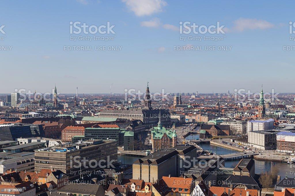 Copenhagen Skyline View from Vor Frelsers Kirke stock photo
