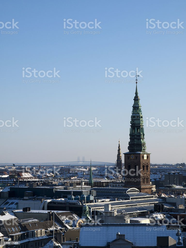 Copenhagen skyline with Sweden in the background royalty-free stock photo