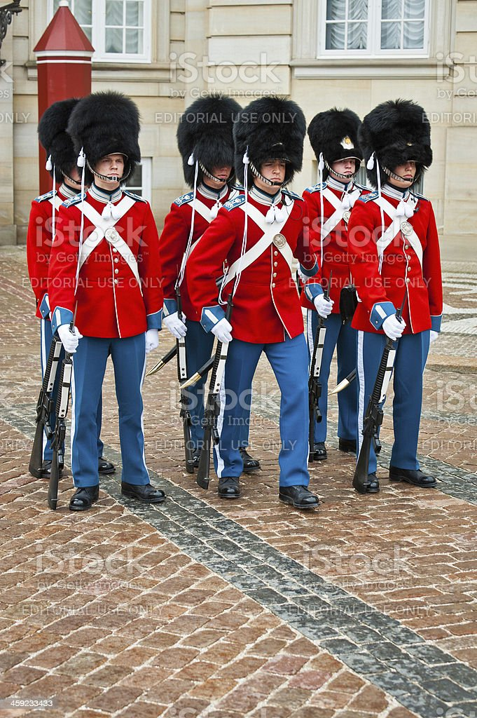 Copenhagen soldiers in colourful dress uniforms Royal Life Guards Denmark stock photo