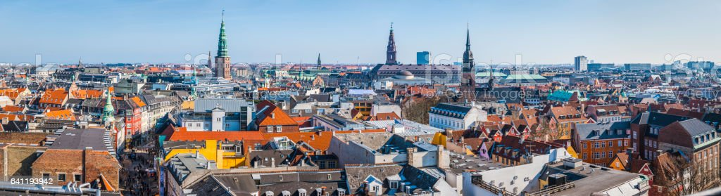 Copenhagen spires and rooftops panorama over central cityscape Denmark stock photo