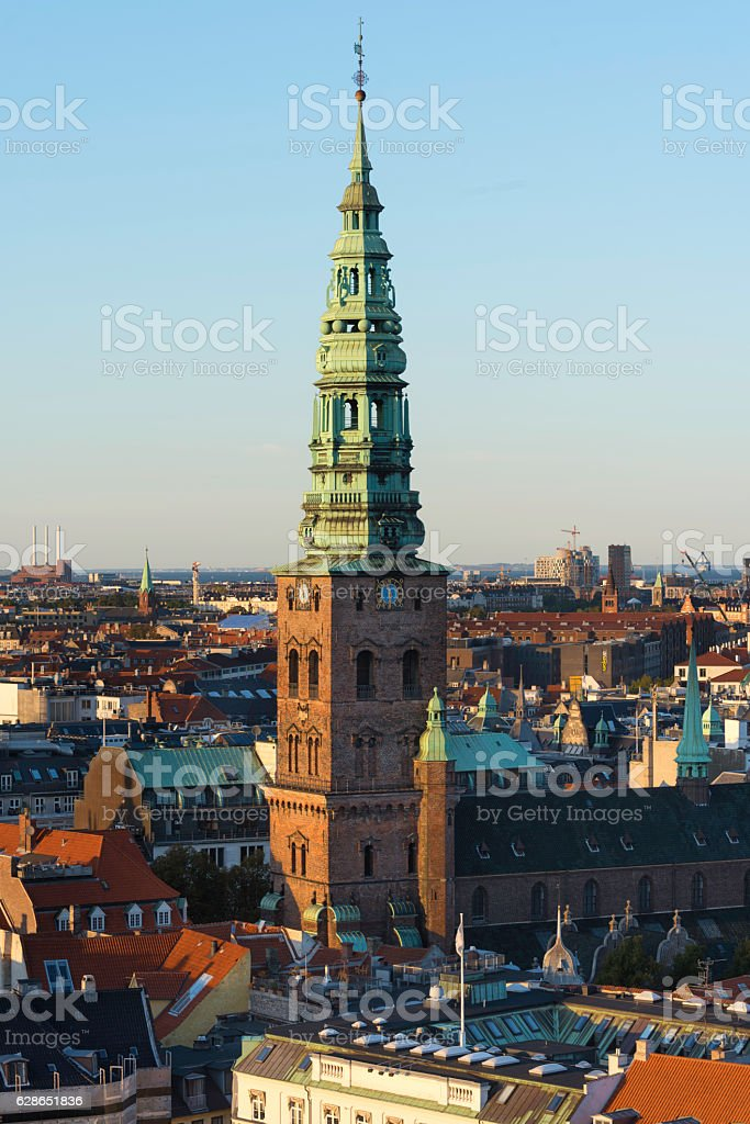 Copenhagen streets and house roofs. stock photo