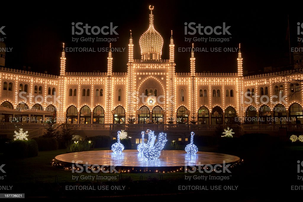 Copenhagen Tivoli by night stock photo