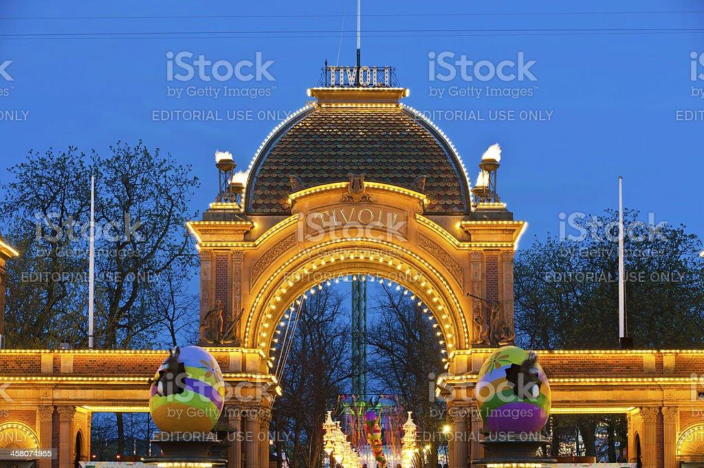 Copenhagen Tivoli Gardens amusement park entrance gate Denmark royalty-free stock photo