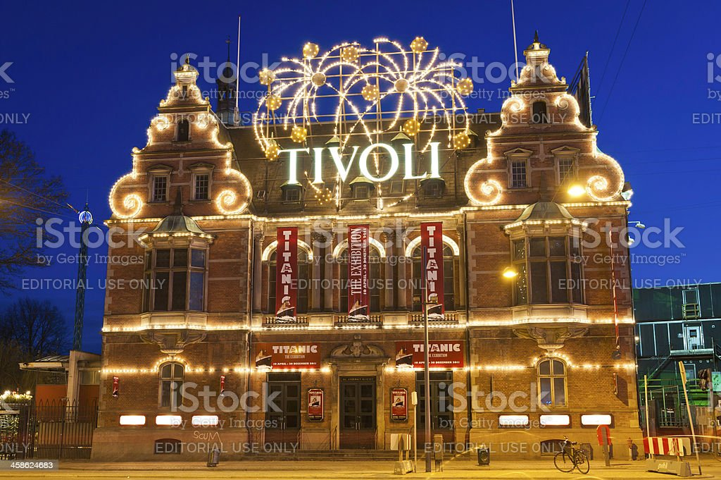 Copenhagen Tivoli Gardens HC Andersen Slottet neon night Denmark stock photo