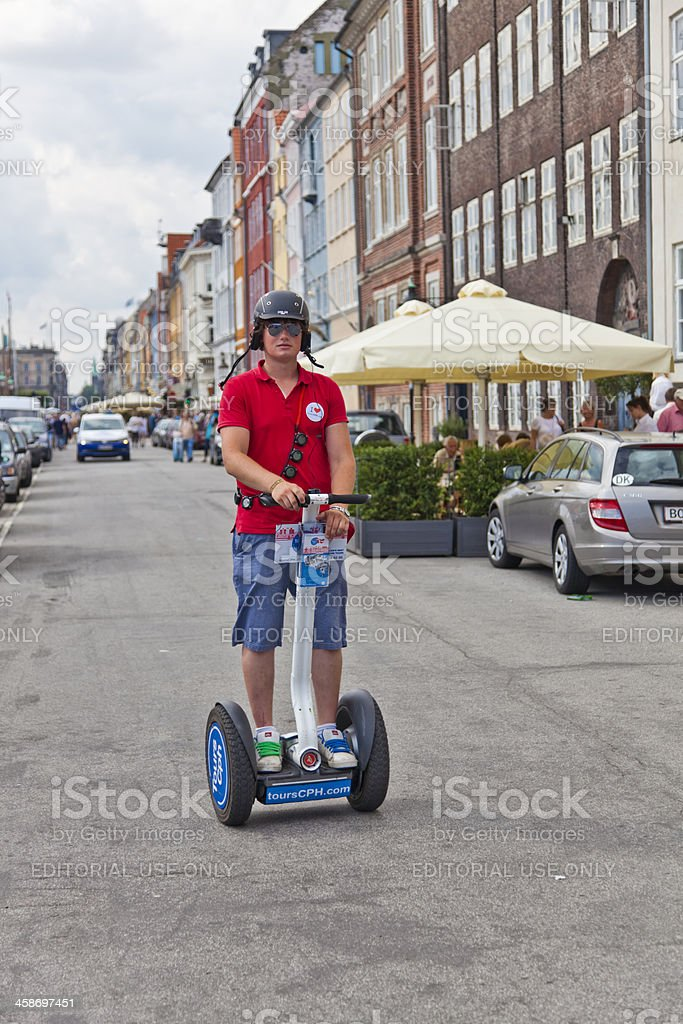 Copenhagen tourist travelling by Segway electric vehicle Denmark royalty-free stock photo