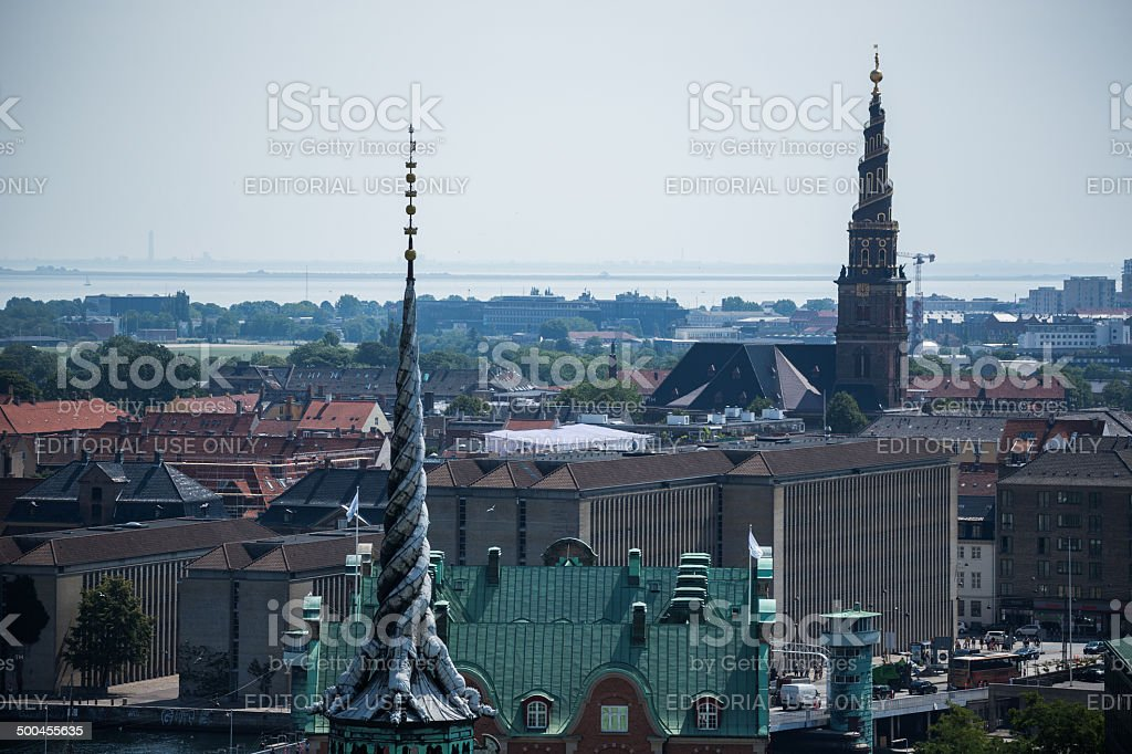 Copenhagen towers from the tower of Christiansborg stock photo